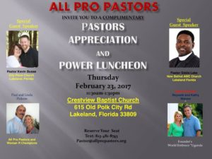 All Pro Pastors Luncheon